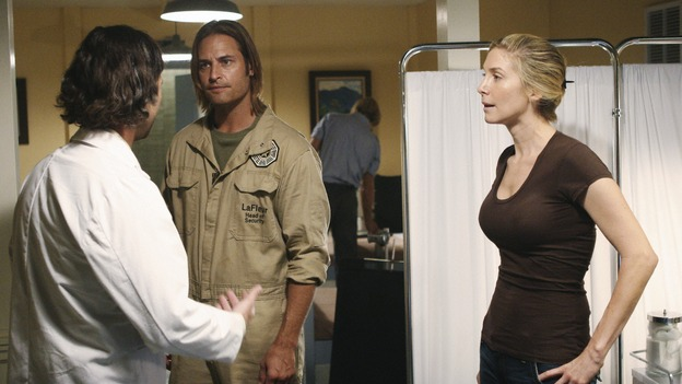 LOST - &quot;LaFleur&quot; - Sawyer perpetuates a lie with some of the other island survivors in order to protect themselves from mistakes of the past, on &quot;Lost,&quot; WEDNESDAY, MARCH 4 (9:00-10:02 p.m., ET) on the ABC Television Network. (ABC/MARIO PEREZ)CHRISTOPHER JAYMES, JOSH HOLLOWAY, ELIZABETH MITCHELL