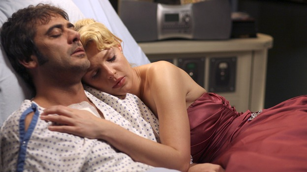 GREY'S ANATOMY - In the first hour of part two of the season finale of ABC's &quot;Grey's Anatomy&quot; -- &quot;Deterioration of the Fight or Flight Response&quot; -- Izzie and George attend to Denny as the pressure increases to find him a new heart, Cristina suddenly finds herself in charge of an ER, and Derek grapples with the realization that the life of a friend is in his hands. In the second hour, &quot;Losing My Religion,&quot; Richard goes into interrogation mode about a patient's condition, Callie confronts George about his feelings for her, and Meredith and Derek meet about Doc. Part two of the season finale of &quot;Grey's Anatomy&quot; airs MONDAY, MAY 15 (9:00-11:00 p.m., ET) on the ABC Television Network. (ABC/SCOTT GARFIELD)JEFFERY DEAN MORGAN, KATHERINE HEIGL