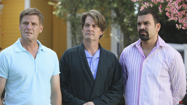 "DESPERATE HOUSEWIVES - ""Being Alive"" - A pall is cast over Wisteria Lane in the wake of a brutal attack, on ""Desperate Housewives,"" SUNDAY, OCTOBER 4 (9:00-10:01 p.m., ET) on the ABC Television Network. As the citizens of Fairview try to make sense of a recent attack in their neighborhood, Lynette withholds a secret from Susan, Gaby gives niece Ana advice on how to get a guy's attention, Bree worries how her affair with Karl will affect her friendship with Susan, and Angie is determined to protect her son and her family's past. (ABC/DANNY FELD)DOUG SAVANT, KYLE MACLACHLAN, RICARDO ANTONIO CHAVIRA"