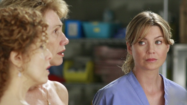 "GREY'S ANATOMY - ""Dream a Little Dream of Me"" - On the two-hour season premiere of ""Grey's Anatomy,"" Meredith and Derek learn that ""happily ever after"" isn't easy, a military doctor who brings in a trauma patient catches Cristina's eye, and the Chief and his staff reel at the news that Seattle Grace is no longer nationally ranked as a top-tier teaching hospital, on ""Grey's Anatomy,"" THURSDAY, SEPTEMBER 25 (9:00-11:00 p.m., ET) on the ABC Television Network. (ABC/RON TOM)BERNADETTE PETERS, KATHY BAKER, ELLEN POMPEO"