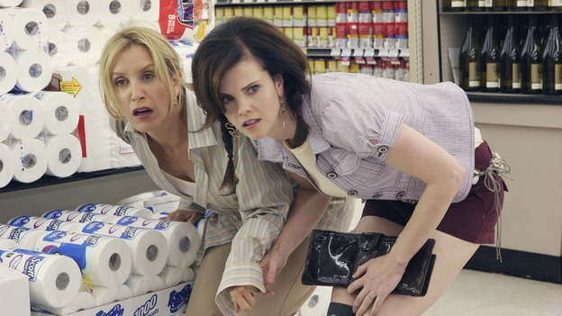 "DESPERATE HOUSEWIVES - ""Bang"" - Lynette and Nora crawl to safety, on ""Desperate Housewives,"" SUNDAY, NOVEMBER 5 (9:00-10:01 p.m., ET) on the ABC Television Network. (ABC/DANNY FELD) FELICITY HUFFMAN, KIERSTEN WARREN"