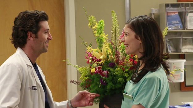 GREY'S ANATOMY - &quot;Where the Wild Things Are&quot; - Six weeks after Derek and Meredith ended their relationship and Derek began dating Rose, Meredith and her fellow residents, Alex, Izzie and Cristina, compete in a surgical contest, with Bailey serving as judge. Meanwhile interns George and Lexie adjust to their new, squalid apartment, and Callie finds a friend in her roommate Cristina's nemesis, Erica Hahn, on &quot;Grey's Anatomy,&quot; THURSDAY, APRIL 24 (9:00-10:01 p.m., ET) on the ABC Television Network. (ABC/RON TOM)PATRICK DEMPSEY, LAUREN STAMILE