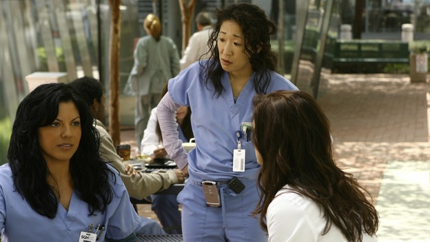 "GREY'S ANATOMY - ""Piece of My Heart"" - Addison returns to Seattle Grace to perform an operation and is taken aback by all of the changes in her old co-workers' lives. Meanwhile Meredith and Derek's clinical trial has its first patient, and Rebecca/Ava returns with shocking news for Alex, on ""Grey's Anatomy,"" THURSDAY, MAY 1 (9:00-10:01 p.m., ET) on the ABC Television Network.  (ABC/SCOTT GARFIELD)SARA RAMIREZ, SANDRA OH, KATE WALSH"