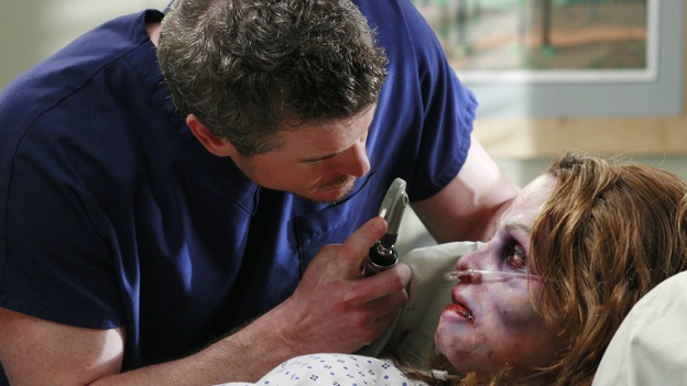 "GREY'S ANATOMY - ""Some Kind of Miracle"" - One person's fight to live affects everyone at Seattle Grace, in the dramatic conclusion to ""Grey's Anatomy's"" three-episode story arc. ""Some Kind of Miracle"" airs THURSDAY, FEBRUARY 22 (9:00-10:01 p.m., ET) on the ABC Television Network. Elizabeth Reaser (Independent Spirit Award nominee for ""Sweet Land"") guest stars as a patient. (ABC/RON TOM)ERIC DANE, ELIZABETH REASER"