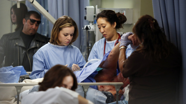 "GREY'S ANATOMY - ""Things We Said Today"" - Bailey puts her wedding day on hold and continues her efforts to save Adele's life, Cristina and Owen remain undecided about their pending divorce, while Arizona and Callie try to get their spark back. Meanwhile, the hospital becomes inundated with a group of bikers after a horrible accident, on ""Grey's Anatomy,"" THURSDAY, JANUARY 10 (9:00-10:02 p.m., ET) on the ABC Television Network. (ABC/KELSEY MCNEAL)TINA MAJORINO, SANDRA OH"