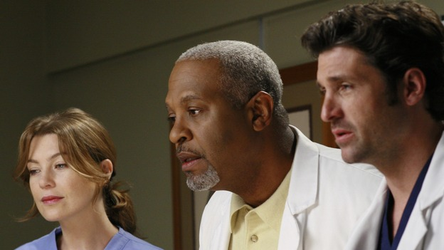 "GREY'S ANATOMY - ""Kung Fu Fighting"" - With his marriage in turmoil, the Chief turns to his fellow male surgeons for a ""gentleman's evening,"" Cristina and Izzie heatedly compete for the same surgeries and the favor of the doctor performing them, Meredith treats the survivor of a skydiving accident, and the doctors treat two injured finalists who are competing in a promotional competition, on ""Grey's Anatomy,"" THURSDAY, NOVEMBER 1 (9:00-10:07 p.m., ET) on the ABC Television Network. (ABC/RON TOM)ELLEN POMPEO, JAMES PICKENS, JR., PATRICK DEMPSEY"