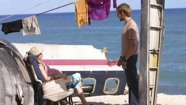 "LOST - ""Confidence Man"" - When Shannon suffers an asthma attack, Jack and Sayid realize brutality might be the only way to convince Sawyer to relinquish the life-saving medicine heÕs hoarding. Meanwhile, Sun struggles to decide if she'll obey husband Jin's orders to stay out of othersÕ affairs, and Kate uncovers some shocking secrets about Sawyer, on ""Lost,"" WEDNESDAY, NOVEMBER 10 (8:00-9:00 p.m., ET), on the ABC Television Network. (ABC/MARIO PEREZ) EMILIE DE RAVIN, DOMINIC MONAGHAN"