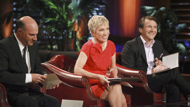 SHARK TANK - &quot;Episode 312&quot; - The Sharks start a feeding frenzy for a chance to go into the residential lock business with a man from Orlando, FL who invented a way to incorporate the common key into a mobile phone. Two fitness trainers from Medina, OH hope to convince the Sharks their home gym is better since it provides nitrogen gas-pressured resistance. A young man from Trophy Club, TX asks the Sharks to invest in his age-defying products that were inspired by his older girlfriend. A father from Charlotte, NC designed a 100% recycled sneaker and hopes to get a business deal that he can eventually pass on to his two young sons. Also, a follow-up on Daymond and Mark's Season 3 investment with Alashe Nelson from Miami, FL and his EZ VIP website - where you can buy VIP treatment at nightclubs and special events. Daymond introduces Alashe to Pit Bull, the international superstar who will endorse the business, on the Season Finale of &quot;Shark Tank,&quot; FRIDAY, MAY 18 (8:00-9:01 p.m., ET) on the ABC Television Network.  (ABC/RICHARD CARTWRIGHT)KEVIN O'LEARY, BARBARA CORCORAN, ROBERT HERJAVEC