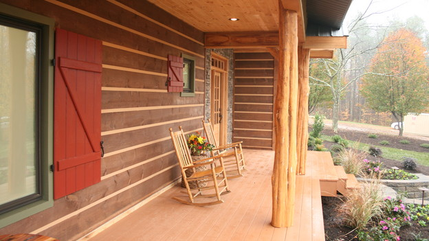 e-timber 	This Appalachian style siding not only looks great but is also environmentally-friendly!  The e-timber is manufactured with an emphasis on conserving our natural resources.  There is an 80 to 1 ratio of e-logs for each 8' log, meaning that 80 e-logs can be made from only one log.  Its EPS component is energy-star rated, therefore allowing homeowners to save money on their energy bills. It is easy to install since it is a tongue and groove product and does not require face screws or nails.  There is also very little maintenance associated with this siding.  E-timber is an excellent and wise alternative to traditional log siding!