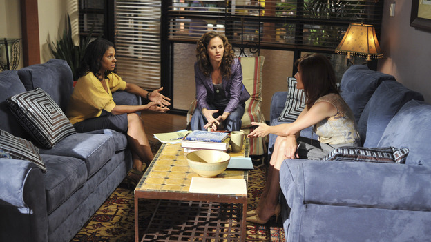 "PRIVATE PRACTICE - ""Equal and Opposite"" - Addison and Sam form a hostile takeover in order to bring the practice out of bankruptcy, as all of the doctors look for additional clients and new income streams, while Violet's friendship with Cooper is on the brink of extinction and a married couple fight for an unethical fertility treatment at Oceanside Wellness, on ""Private Practice,"" WEDNESDAY, OCTOBER 8 (9:00-10:01 p.m., ET) on the ABC Television Network. (ABC/ERIC McCANDLESS)AUDRA McDONALD, AMY BRENNEMAN, KATE WALSH"