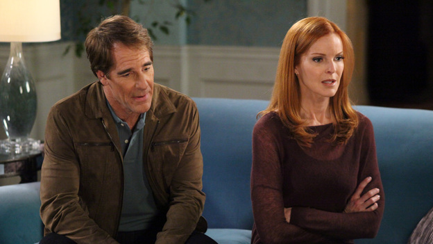 DESPERATE HOUSEWIVES - &quot;Lost My Power&quot; - With Mike gone, Susan attempts to build a car for MJ's father-and-son school soapbox derby; Bree's attorney, Trip (Scott Bakula), learns of her previous drunken sexual spree and needs her to come clean about it in order to help strengthen her case; Lynette tries to cause some negative friction between Tom and his girlfriend, Jane, by flirting with his boss and getting him to pile more work on her estranged husband; Gaby is furious with Carlos when he tries to poach one of her rich, personal shopper clients (Doris Roberts) and talk her into helping with his newly formed charity organization; and Renee discovers that Ben is keeping a secret from her about his involvement with Bree -- and the body found at his work site -- on &quot;Desperate Housewives,&quot; SUNDAY, APRIL 29 (9:01-10:01 p.m., ET) on the ABC Television Network. (ABC/DANNY FELD)SCOTT BAKULA, MARCIA CROSS