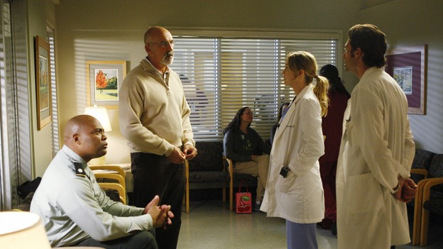"GREY'S ANATOMY - ""The Becoming"" - The nurses' objections to McSteamy's trysts lead to the instating of a new ""date and tell"" policy. Meanwhile news of Burke's latest career achievements force Cristina to face her feelings for her ex, Meredith and Derek admit a veteran soldier into their clinical trial, and Callie turns to Sloan in her time of need, on ""Grey's Anatomy,"" THURSDAY, MAY 8 (9:00-10:02 p.m., ET) on the ABC Television Network. (ABC/VIVIAN ZINK)ANDRE WARE, JOHN M. JACKSON, ELLEN POMPEO, PATRICK DEMPSEY"
