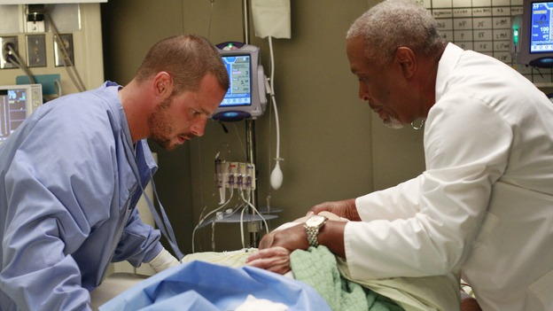 GREY'S ANATOMY - &quot;Where the Wild Things Are&quot; - Six weeks after Derek and Meredith ended their relationship and Derek began dating Rose, Meredith and her fellow residents, Alex, Izzie and Cristina, compete in a surgical contest, with Bailey serving as judge. Meanwhile interns George and Lexie adjust to their new, squalid apartment, and Callie finds a friend in her roommate Cristina's nemesis, Erica Hahn, on &quot;Grey's Anatomy,&quot; THURSDAY, APRIL 24 (9:00-10:01 p.m., ET) on the ABC Television Network. (ABC/RON TOM)JUSTIN CHAMBERS, JAMES PICKENS JR.