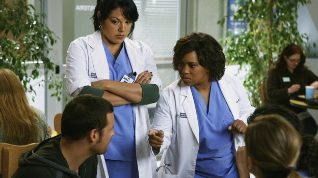"GREY'S ANATOMY - ""Now or Never"" - Drs. Callie Torres and Miranda Bailey lay out their plan for an intervention to keep Dr. George O'Malley from going into the U.S. Army, on ""Grey's Anatomy,"" THURSDAY, MAY 14 (9:00-11:00 p.m., ET) on the ABC Television Network. JUSTIN CHAMBERS, SARA RAMIREZ, CHANDRA WILSON, ELLEN POMPEO, SANDRA OH (OBSCURED)"