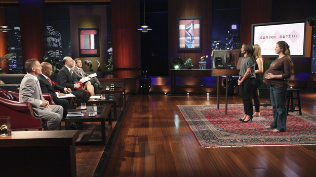 "SHARK TANK - ""Episode 208"" -- A woman from Yardley, Pennsylvania could help cat lovers everywhere if the Sharks invest in her toilet training kit for cats, and the Sharks fight each other for a piece of a multi-million dollar company owned by a pharmacist from Palm Beach Gardens, Florida, who has invented a shoe with interchangeable tops. Also in this episode, an entrepreneur from Chicago is hoping to reposition her once successful designer line of maternity t-shirts; and an artist originally from Mexico City (now living in Chicago) and eager to make his American dream come true hopes the Sharks will want to invest in his line of extravagant yet affordable jewelry. In addition there will be a follow up from Season 1 on the father and son team behind Voyage Air Guitar and what happened to their business after turning down the Sharks' $1 million dollar offer, on the Season Finale of ""Shark Tank,"" FRIDAY, MAY 13 (8:00-9:00 p.m., ET) on the ABC Television Network. (ABC/ADAM TAYLOR)KEVIN HARRINGTON, DAYMOND JOHN, KEVIN O'LEARY, BARBARA CORCORAN, ROBERT HERJAVEC, KIM PREIS (SAMSON MARTIN)"