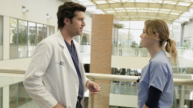 "GREY'S ANATOMY - ""Losing My Mind"" - Dr. Wyatt refuses to let Meredith give up on therapy, Alex learns the truth about Rebecca's medical condition, the Chief insists that Erica perform a risky surgery on his mentor, and after receiving news of Burke, Cristina continues to do things contrary to her nature, going so far as cleaning her always-messy apartment, on ""Grey's Anatomy,"" THURSDAY, MAY 15 (9:00-10:02 p.m., ET) on the ABC Television Network. (ABC/MITCH HADDAD)PATRICK DEMPSEY, ELLEN POMPEO"