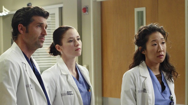 GREY'S ANATOMY - &quot;Physical Attraction... Chemical Reaction&quot; - George and Izzie's romantic chemistry is put to the test, as Derek asks for more than a physical connection from Meredith; much to his own surprise, Mark develops a crush on a fellow surgeon, and Callie's role as Chief Resident is placed in jeopardy after she delegates much of her job to Bailey, on &quot;Grey's Anatomy,&quot; THURSDAY, NOVEMBER 8 (9:00-10:02 p.m., ET) on the ABC Television Network. (ABC/RON TOM)PATRICK DEMPSEY, CHYLER LEIGH, SANDRA OH