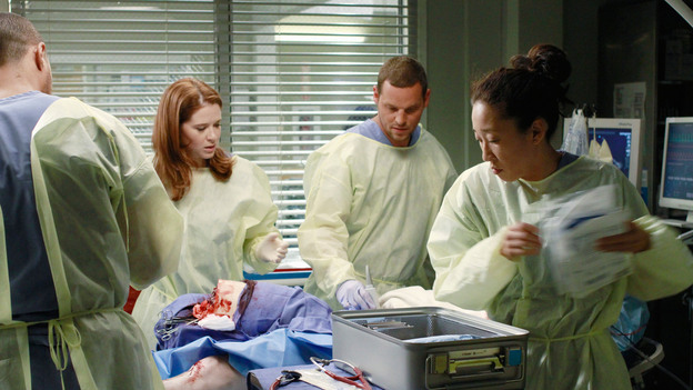 GREY'S ANATOMY - &quot;She's Gone&quot; - In the second hour, &quot;She's Gone&quot; (10:00-11:00 p.m.), news of Meredith and Derek's unsteady relationship raises a red flag for Zola's adoption counselor; Alex quickly realizes that he has become the outcast of the group after ratting out Meredith; and Cristina makes a tough decision regarding her unexpected pregnancy. Also, Chief Webber brings Henry in for a last minute surgery, alarming Teddy. &quot;Grey's Anatomy&quot; returns for its eighth season with a two-hour event THURSDAY, SEPTEMBER 22 (9:00-11:00 p.m., ET) on the ABC Television Network. (ABC/RON TOM)JESSE WILLIAMS, SARAH DREW, JUSTIN CHAMBERS, SANDRA OH