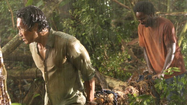 "LOST - ""Abandoned"" - Sawyer's wound becomes life-threatening as he, Michael and Jin make their way through the interior of the island with the tail section survivors. Meanwhile, Shannon is once again haunted by visions of Walt, and Charlie becomes jealous of Locke's interest in Claire, on ""Lost,"" WEDNESDAY, OCTOBER 26 (9:00-10:00 p.m., ET), on the ABC Television Network. (ABC/MARIO PEREZ)DANIEL DAE KIM, HAROLD PERRINEAU"