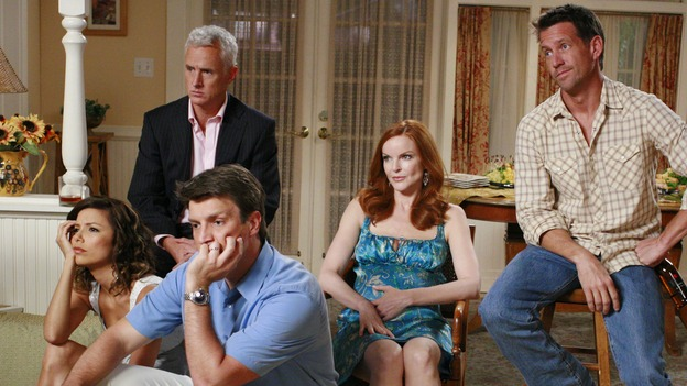 "DESPERATE HOUSEWIVES - ""The Game"" - The other team is not amused. SUNDAY, OCTOBER 14 (9:00-10:01 p.m., ET) on the ABC Television Network. (ABC/RON TOM) EVA LONGORIA, JOHN SLATTERY, NATHAN FILLION, MARICA CROSS, JAMES DENTON"