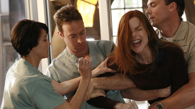"DESPERATE HOUSEWIVES - ""Remember"" - A series of flashbacks take us back to moving-in day on Wisteria Lane for Bree, Susan, Gaby and Lynette, and to how Mary Alice Young brought them all together. Meanwhile Bree gets some frightening news, Susan moves into a trailer, Lynette discovers Tom's secret and all is not well in the house of Solis, on the two-hour Second-Season finale of ""Desperate Housewives,"" SUNDAY, MAY 21 (9:00-11:00 p.m., ET) on the ABC Television Network. (ABC/RON TOM)MARCIA CROSS"