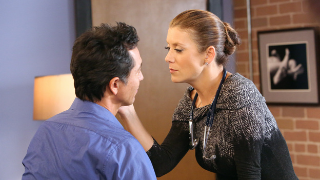 "PRIVATE PRACTICE - ""Good Grief"" - After hearing a patient's chilling confession, Violet turns to Sheldon for advice. Meanwhile, Addison tries to keep her grief a secret, Cooper and Charlotte adapt to their new reality and Sam confronts Sheldon about his denial, on ""Private Practice,"" TUESDAY, OCTOBER 9 (10:00-11:00 p.m., ET) on the ABC Television Network. (ABC/ADAM TAYLOR)BENJAMIN BRATT, KATE WALSH"