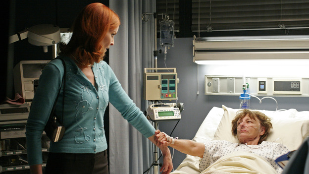 "DESPERATE HOUSEWIVES - ""Goodbye for Now"" - Susan makes a decision about Mike Delfino. Meanwhile Lynette takes steps to make sure Annabel (guest star Melinda McGraw) doesn't come between her and Tom, Bree comes to a realization about ""buddy"" George the pharmacist (guest star Roger Bart), and Carlos' legal problems take a turn for the worse, on ""Desperate Housewives,"" SUNDAY, MAY 15 (9:00-10:02 p.m., ET) on the ABC Television Network. (ABC/RON TOM) MARCIA CROSS"