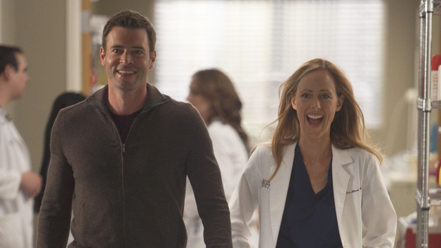 GREY'S ANATOMY - &quot;Heart-Shaped Box&quot; - The doctors become nostalgic when George O'Malley's mother, Louise, returns to Seattle Grace for medical help after a botched surgery at a neighboring hospital; the residents are inspired by a medical miracle when they witness a harvested heart that continues to beat outside the body; a new pediatric fellow excites Arizona and makes Alex feel threatened; Jackson lets his suspicions about Mark and Lexie interfere with his work; and Henry and Teddy have their first marital fight when he expresses interest in pursuing medical school, on &quot;Grey's Anatomy,&quot; THURSDAY, NOVEMBER 3 (9:00-10:02 p.m., ET) on the ABC Television Network. (ABC/RANDY HOLMES)SCOTT FOLEY, KIM RAVER