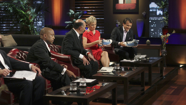 "SHARK TANK - ""Episode 306"" - It becomes obvious to the Sharks that three ice cream makers from Old Lyme, CT don't have much money sense when pitching their beer-infused flavored ice cream. A man from Englewood, CO brings his dog along to demonstrate how his pre-packaged meals for pets work. It gets loud when two women from Los Angeles, CA hope the Sharks will gear up to make a deal with their line of protective safety wear for motorcycle enthusiasts. A young, street-smart entrepreneur from Venice, CA wants the Sharks to go into his clothing business that allows people to digitally put images on any garment, turning it into wearable art. Also, a follow-up on Randy & Darryl Lanz from Peachtree City, Georgia and their Ride On Carry On luggage attachment, which Barbara invested in during Season 2, on ""Shark Tank,"" FRIDAY, MARCH 23 (8:00-9:01 p.m., ET) on the ABC Television Network. (ABC/MICHAEL ANSELL)DAYMOND JOHN, KEVIN O'LEARY, BARBARA CORCORAN, ROBERT HERJAVEC"