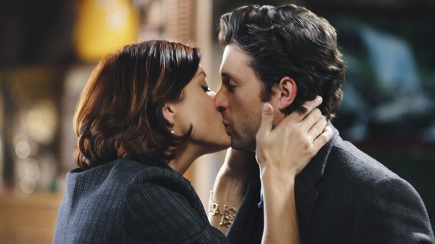 GREY'S ANATOMY - &quot;Before and After&quot; - Addison lays a smooch (platonic, we think), on Derek after he saved her brother, Archer's life, on &quot;Grey's Anatomy,&quot; THURSDAY, FEBRUARY 12 (9:00-10:02 p.m., ET) on the ABC Television Network. (ABC/RICHARD CARTWRIGHT) KATE WALSH, PATRICK DEMPSEY