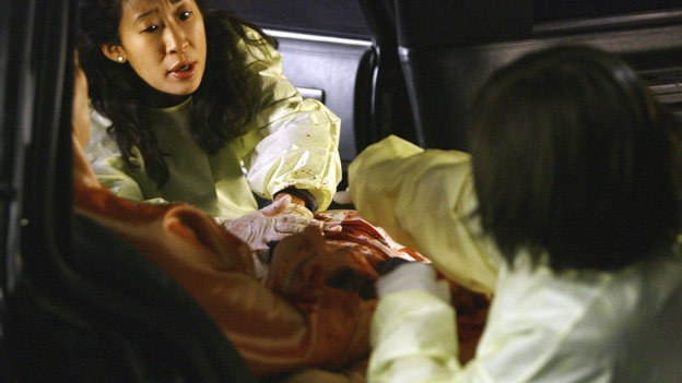 "GREY'S ANATOMY - ""Dream a Little Dream of Me"" - Cristina and Bailey help get three injured women out of their limousine, on ""Grey's Anatomy,"" THURSDAY, SEPTEMBER 25 (9:00-11:00 p.m., ET) on the ABC Television Network. (ABC/SCOTT GARFIELD) SANDRA OH, CHANDRA WILSON"