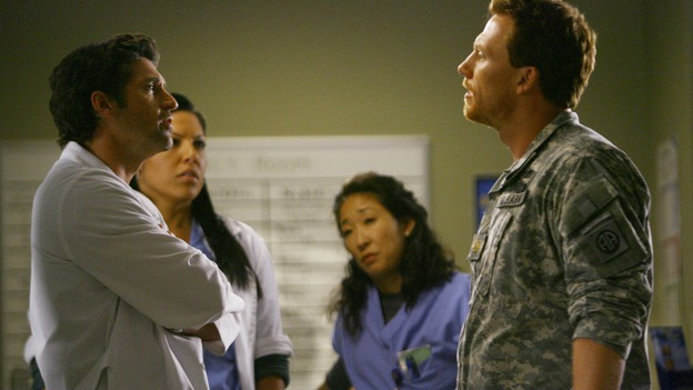 "GREY'S ANATOMY - ""Dream a Little Dream of Me"" - Derek takes issue with some of the Army medic Owen Hunt's methods, but he can't argue with the results, on ""Grey's Anatomy,"" THURSDAY, SEPTEMBER 25 (9:00-11:00 p.m., ET) on the ABC Television Network. (ABC/SCOTT GARFIELD) PATRICK DEMPSEY, SARA RAMIREZ, SANDRA OH, KEVIN McKIDD"