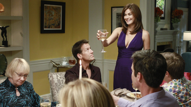 "DESPERATE HOUSEWIVES - ""And Lots of Security..."" / ""Come on Over for Dinner"" - A progressive dinner party thrown for Susan to celebrate her move back onto the lane leads to a shocking murder. Meanwhile, Gaby is stunned to learn the identity of the mysterious man who has been stalking her; Lynette and Tom attempt to put the spark back into their marriage by spending a few days alone together at a romantic B&B; after being placed under arrest for allegedly poisoning Paul, Susan must convince the police that she was being framed for the deed by Felicia; Bree begins to suspect that her new boyfriend may be gay; and Renee is devastated when she learns that her ex-husband is getting re-married, on the two-hour Season Finale of ""Desperate Housewives,"" SUNDAY, MAY 15 (9:00-11:00 p.m., ET) on the ABC Television Network. (ABC/RON TOM)KATHRYN JOOSTEN, JAMES DENTON, TERI HATCHER, TUC WATKINS, KEVIN RAHM (OBSCURED)"