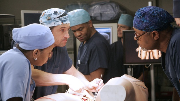 GREY'S ANATOMY - &quot;Don't Stand So Close to Me&quot; - Recent events strain Burke and Cristina's relationship, Meredith's half-sister, Molly, is admitted to the hospital, and Mark and Derek must work together when two close-knit brothers seek medical help, on &quot;Grey's Anatomy,&quot; THURSDAY, NOVEMBER 30 (9:00-10:01 p.m., ET) on the ABC Television Network. (ABC/VIVIAN ZINK)CHANDRA WILSON, PATRICK DEMPSEY, JAMES PICKENS, JR.