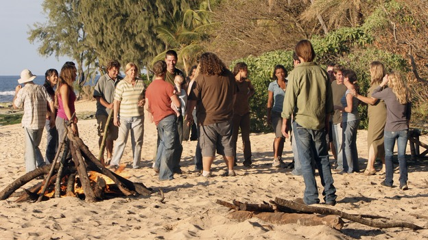 "LOST - ""One of Us"" - Jack's joyous reunion with his fellow survivors is cut short when they realize that accompanying him is one of ""The Others,"" and Claire is stricken by a mysterious, life-threatening illness, on ""Lost,"" WEDNESDAY, APRIL 11 (10:00-11:00 p.m., ET), on the ABC Television Network. (ABC/MARIO PEREZ)YUNJIN KIM, DOMINIC MONAGHAN, MATTHEW FOX, JORGE GARCIA, EVANGELINE LILLY, JOSH HOLLOWAY, EMILIE DE RAVIN"