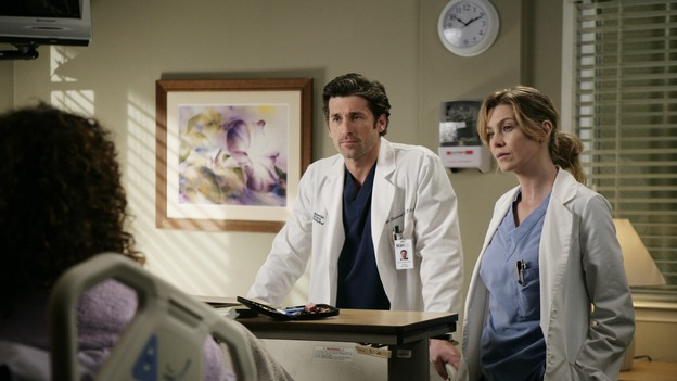 "GREY'S ANATOMY - ""Losing My Mind"" - Dr. Wyatt refuses to let Meredith give up on therapy, Alex learns the truth about Rebecca's medical condition, the Chief insists that Erica perform a risky surgery on his mentor, and after receiving news of Burke, Cristina continues to do things contrary to her nature, going so far as cleaning her always-messy apartment, on ""Grey's Anatomy,"" THURSDAY, MAY 15 (9:00-10:02 p.m., ET) on the ABC Television Network. (ABC/MITCH HADDAD) REGINA TAYLOR, PATRICK DEMPSEY, ELLEN POMPEO"