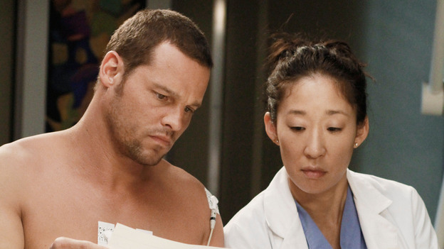 GREY'S ANATOMY - &quot;She's Gone&quot; - In the second hour, &quot;She's Gone&quot; (10:00-11:00 p.m.), news of Meredith and Derek's unsteady relationship raises a red flag for Zola's adoption counselor; Alex quickly realizes that he has become the outcast of the group after ratting out Meredith; and Cristina makes a tough decision regarding her unexpected pregnancy. Also, Chief Webber brings Henry in for a last minute surgery, alarming Teddy. &quot;Grey's Anatomy&quot; returns for its eighth season with a two-hour event THURSDAY, SEPTEMBER 22 (9:00-11:00 p.m., ET) on the ABC Television Network. (ABC/RON TOM)JUSTIN CHAMBERS, SANDRA OH