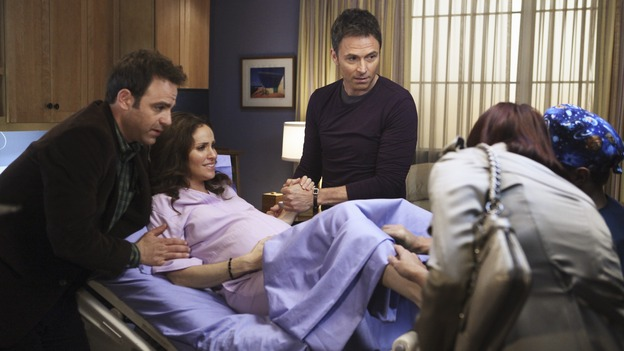 "PRIVATE PRACTICE - ""Yours, Mine and Ours"" - As Violet chooses between Pete and Sheldon, a grief-stricken patient poses a danger to her; Addison faces her feelings for Noah as Morgan goes into labor; Dell has concerns for his daughter when a drugged-out Heather returns to town; and Naomi must decide if it's in her best interest to stay with Oceanside Wellness or start anew at Pacific Wellcare, on ""Private Practice,"" THURSDAY, APRIL 30 (10:02-11:00 p.m., ET) on the ABC Television Network. (ABC/KAREN NEAL) PAUL ADELSTEIN, AMY BRENNEMAN, TIM DALY, KATE WALSH, CHRIS LOWELL (OBSCURED)"