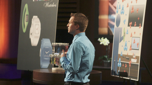 "SHARK TANK - ""Episode 302"" - The Sharks tear into the business idea of a Phoenix, AZ man who wants them to invest in a watch he claims provides health benefits; a stay-at-home mom from Gilbert, AZ could lose her gourmet pretzel business if she leaves the Tank without an investor; a man from Bozeman, MT with a no-tools-required furniture system hopes he can assemble a deal; and an inventor from Fullerton, CA has a small but powerful idea that could make him a millionaire. Also, Johnson Barley from Broken Arrow, OK, whose Original Man Candle did not spark a deal with the Sharks in Season Two, talks about his business since his appearance, on ""Shark Tank,"" FRIDAY, FEBRUARY 24 (8:00-9:00 p.m., ET) on the ABC Television Network. (ABC/MICHAEL ANSELL)RYAN NAYLOR (ESSO WATCHES)"