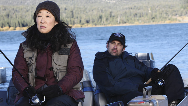 "GREY'S ANATOMY - ""Adrift and at Peace"" - Despite Meredith's objections to the idea, a concerned Derek takes Cristina on a fishing trip in order to get away from it all, while Teddy, feeling directionless without Cristina, directs all of her efforts and compassion towards a dying patient (played by Scott Foley) who lacks the proper insurance to seek medical treatment, on ""Grey's Anatomy,"" THURS., DECEMBER 2 (9:00-10:01 p.m., ET) on the ABC Television Network. (ABC/DANNY FELD)SANDRA OH, PATRICK DEMPSEY"