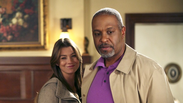 "GREY'S ANATOMY - ""Staring at the Sun"" - The O'Malley Family visits George at the hospital, Meredith is determined to have a more positive outlook on life, Derek and Addison strive for a civil relationship, and Richard endeavors to reunite with his wife, Adele, on ""Grey's Anatomy,"" THURSDAY, NOVEMBER 16 (9:00-10:01 p.m., ET) on the ABC Television Network. (ABC/KAREN NEAL)ELLEN POMPEO, JAMES PICKENS, JR., KATE BURTON"