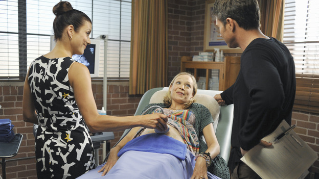 "PRIVATE PRACTICE - ""Serving Two Masters"" - Addison treats two pregnant women who unknowingly share the same husband, a visit from an Alzheimer's patient and her loving husband forces Sam and Naomi to look at their own relationship, Violet confronts Charlotte about her relationship with Cooper, and Dell reveals a very special woman in his life to his surprised co-workers, on ""Private Practice,"" WEDNESDAY, NOVEMBER 19 (9:00-10:01 p.m., ET) on the ABC Television Network. (ABC/ERIC MCCANDLESS)KATE WALSH, ALEXANDRA HOLDEN, TIM DALY"