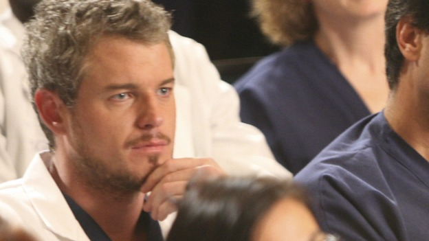 "GREY'S ANATOMY - ""Here Comes the Flood"" - Mark listens as the Chief lays out the new rules for SGH, on ""Grey's Anatomy,"" THURSDAY, OCTOBER 9 (9:00-10:01 p.m., ET) on the ABC Television Network. (ABC/DANNY FELD) ERIC DANE, PATRICK DEMPSEY, KATHERINE HEIGL (FOREGROUND), BROOKE SMITH"