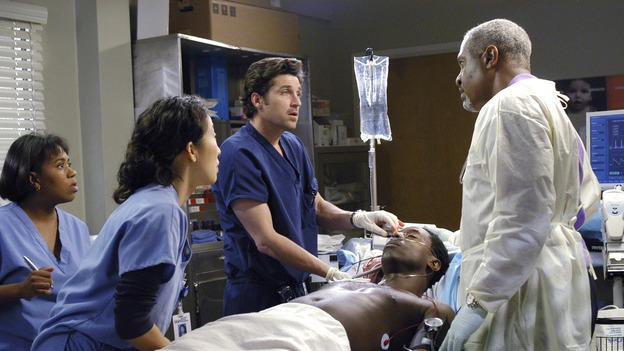 "GREY'S ANATOMY - In the first hour of part two of the season finale of ABC's ""Grey's Anatomy"" -- ""Deterioration of the Fight or Flight Response"" -- Izzie and George attend to Denny as the pressure increases to find him a new heart, Cristina suddenly finds herself in charge of an ER, and Derek grapples with the realization that the life of a friend is in his hands. In the second hour, ""Losing My Religion,"" Richard goes into interrogation mode about a patient's condition, Callie confronts George about his feelings for her, and Meredith and Derek meet about Doc. Part two of the season finale of ""Grey's Anatomy"" airs MONDAY, MAY 15 (9:00-11:00 p.m., ET) on the ABC Television Network. (ABC/GALE ADLER) CHANDRA WILSON, SANDRA OH, PATRICK DEMPSEY, ISAIAH WASHINGTON, JAMES PICKENS, JR."