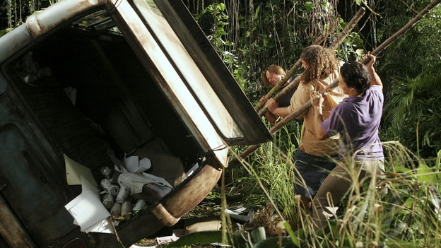 "LOST - ""Tricia Tanaka Is Dead"" - Hurley's discovery of an old, wrecked car on the island leads him on a mission of hope not only for himself, but for a fellow survivor in need of some faith. Meanwhile, Kate and Sawyer reunite with their fellow castaways, but Kate is still torn about leaving Jack behind with ""The Others,"" on ""Lost,"" WEDNESDAY, FEBRUARY 28 (10:00-10:00 p.m., ET), on the ABC Television Network. (ABC/MARIO PEREZ)JOSH HOLLOWAY, JORGE GARCIA, DANIEL DAE KIM"