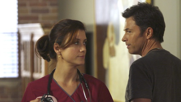 "PRIVATE PRACTICE - ""In Which Sam Gets Taken for a Ride"" - While Sam finds himself in the midst of a dangerous house call, love - or at least sex - is in the air at Oceanside Wellness Center, as Pete and Addison decide to take their relationship to the next level, and Violet enters a ""friends with benefits"" pact with Cooper, on ""Private Practice,"" WEDNESDAY, NOVEMBER 14 (9:00-10:02 p.m., ET) on the ABC Television Network. (ABC/MICHAEL DESMOND)KATE WALSH, TIM DALY"