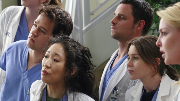 "GREY'S ANATOMY - ""Scars and Souvenirs"" - The race for chief heats up after a new competitor enters the fray, tensions escalate between Izzie and George, and Callie must reveal a big secret. Meanwhile, Derek treats a patient near and dear to him, while Alex continues his work with Jane Doe, on ""Grey's Anatomy,"" THURSDAY, MARCH 15 (9:00-10:01 p.m., ET) on the ABC Television Network. (ABC/RON TOM)T.R. KNIGHT, SANDRA OH, JUSTIN CHAMBERS, ELLEN POMPEO, KATHERINE HEIGL"