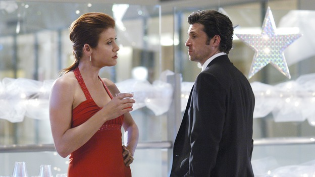 "GREY'S ANATOMY - In the first hour of part two of the season finale of ABC's ""Grey's Anatomy"" -- ""Deterioration of the Fight or Flight Response"" -- Izzie and George attend to Denny as the pressure increases to find him a new heart, Cristina suddenly finds herself in charge of an ER, and Derek grapples with the realization that the life of a friend is in his hands. In the second hour, ""Losing My Religion,"" Richard goes into interrogation mode about a patient's condition, Callie confronts George about his feelings for her, and Meredith and Derek meet about Doc. Part two of the season finale of ""Grey's Anatomy"" airs MONDAY, MAY 15 (9:00-11:00 p.m., ET) on the ABC Television Network. (ABC/GALE ADLER)KATE WALSH, PATRICK DEMPSEY"