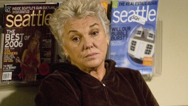 "GREY'S ANATOMY - ""Sympathy for the Devil"" - Derek's mother, Carolyn, visits Seattle Grace and finds herself waiting around a lot, on ""Grey's Anatomy,"" THURSDAY, JANUARY 15 (9:00-10:01 p.m., ET) on the ABC Television Network. (ABC/RANDY HOLMES) TYNE DALY"