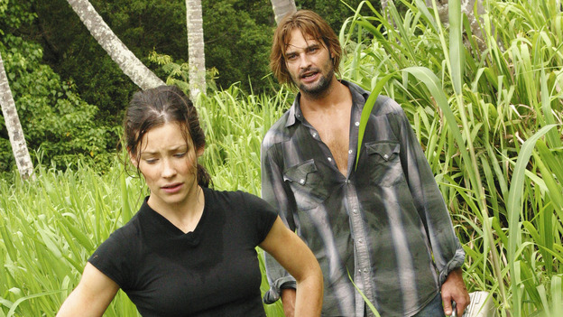 LOST - &quot;Whatever the Case May Be&quot; - Jack, Kate and Sawyer fight over possession of a newly discovered locked metal briefcase which might contain insights into Kate's mysterious past. Meanwhile, Sayid asks a reluctant Shannon to translate notes he took from the French woman, a rising tide threatens to engulf the fuselage and the entire beach encampment, and Rose and a grieving Charlie tentatively bond over Claire's baffling disappearance, on &quot;Lost,&quot; WEDNESDAY, JANUARY 5 (8:00-9:00 p.m., ET), on the ABC Television Network.  (ABC/MARIO PEREZ) EVANGELINE LILLY, JOSH HOLLOWAY